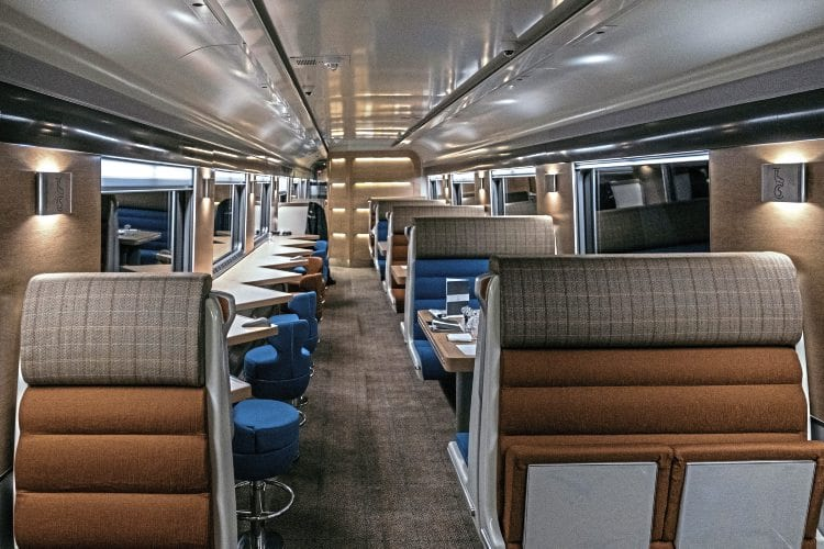 Club Car seating is arranged in convivial booths for groups and individual stools for solo passengers. PAUL SMITH