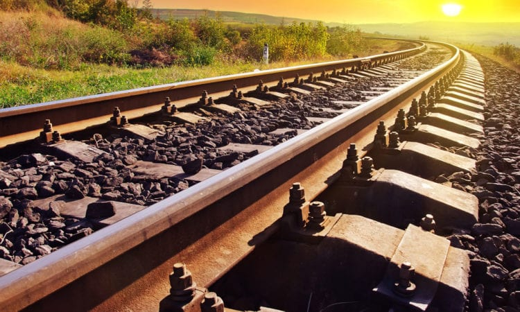 Sunlight hits the tracks.