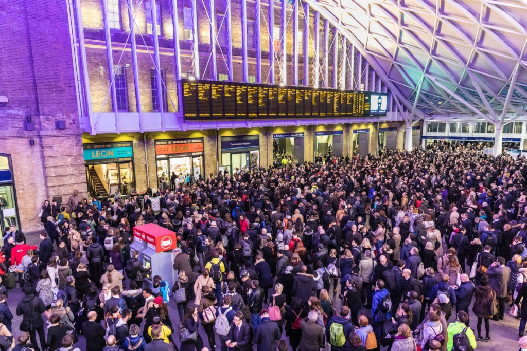 Crowded Kings Cross station in London