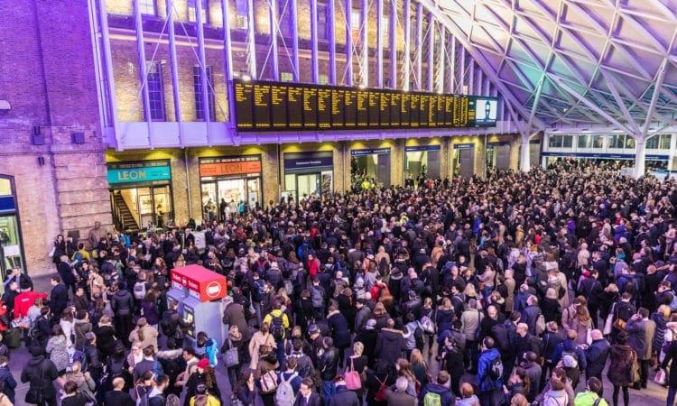 Crowded Kings Cross station in London