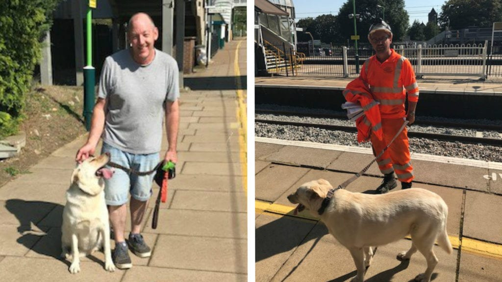 Asha the dog with owner left and rescuer right. Photo: Network Rail