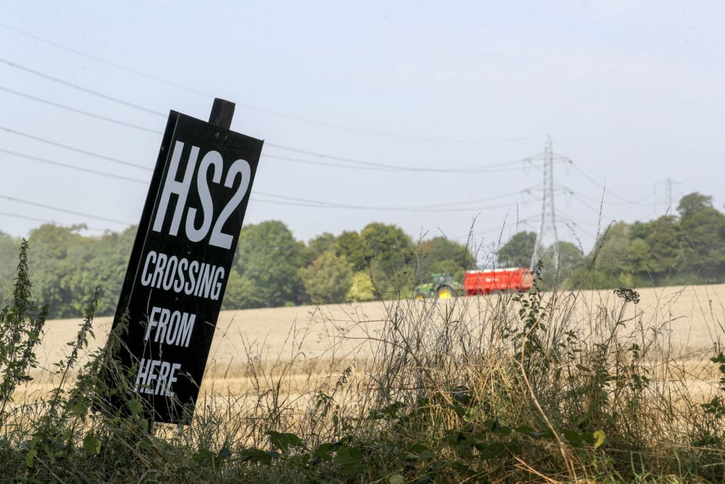 HS2 crossing sign.