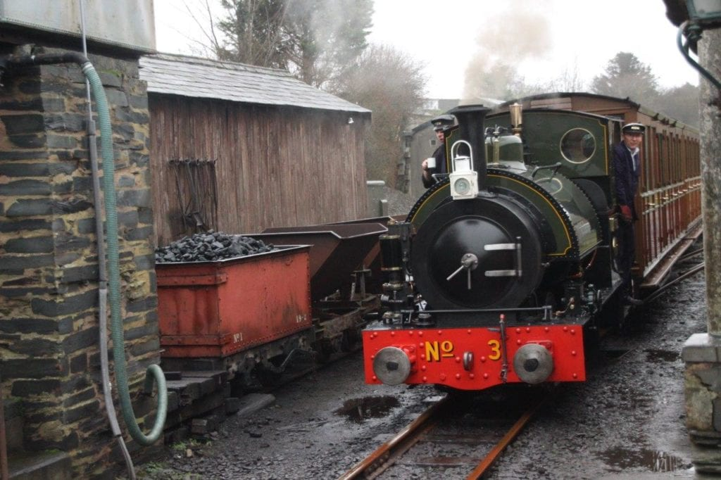 Former Corris Railway 0-4-2ST No. 3 Sir Haydn is seen slowing to stop at Pendre station on December 29, 2018. GARETH EVANS