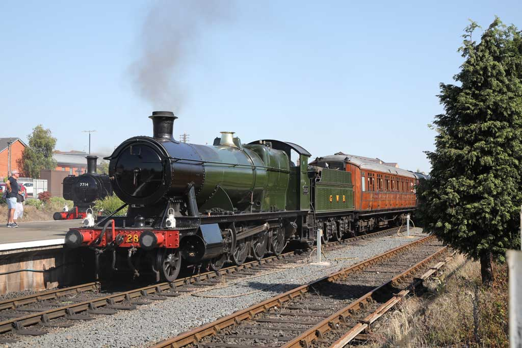 GWR 2-8-0 No. 2857 and Pannier 0-6-0 No. 7714 at Kidderminster on July 31, during trial runs by the Severn Valley Railway prior to public reopening the next day. The tests were to ensure social distancing measures were working correctly.