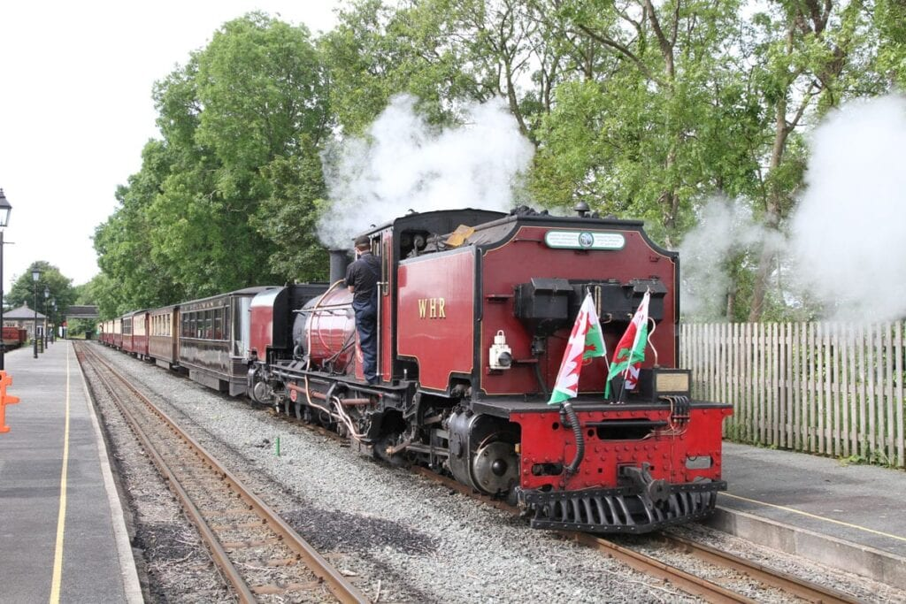 Pic caption: Welsh Highland NGG16 'Garratt' No. 138 at Dinas station on June 14, 2019 about to depart for Caernarfon